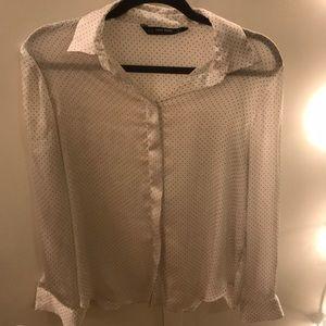 Zara Basics white polka dot sheer button up blouse